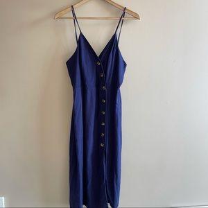 Urban Romantics blue linen button up dress SIZE M